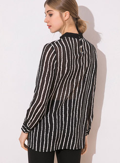 Striped Stand Collar Perspective Pullover Blouse