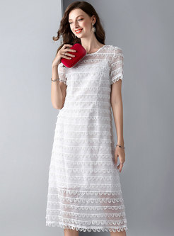 Organza Embroidered White Slim A Line Dress With Camis