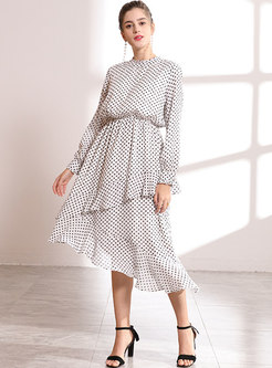 Brief Polka Dots Elastic Waist Dress
