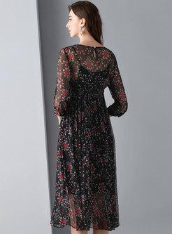 Black Print Silk High Waist Skater Dress With Camis