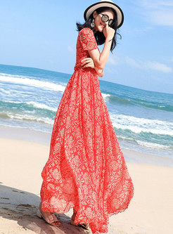 Bohemia Print V-neck Big Hem Maxi Dress