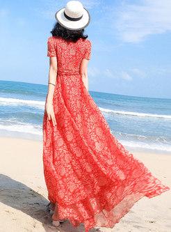 Bohemia Print V-neck Big Hem Maxi Dress