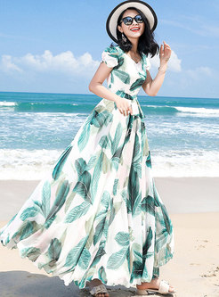 Stylish Print Falbala Tied Beach Maxi Dress