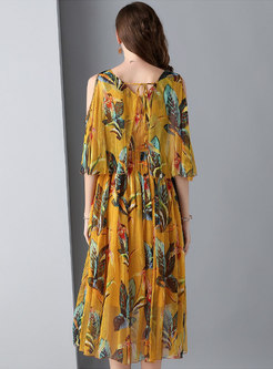Casual Backless Color-blocked Tied Flare Sleeve Dress