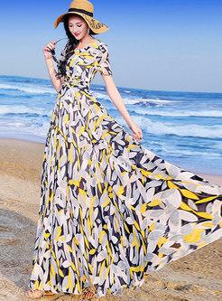 Elegant Print Gathered Waist Slim Beach Maxi Dress