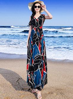 Color-blocked High Waist Chiffon Maxi Dress