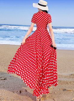 Stylish Red Chiffon Polka Dots Holiday Maxi Dress