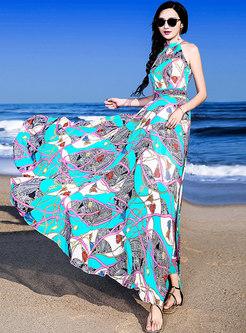 Multicolor Off Shoulder Big Hem Bohemia Maxi Dress
