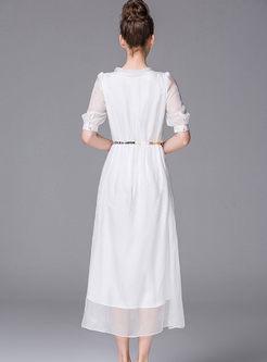 Brief O-neck Half Sleeve Silk Dress