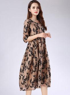 O-neck Half Sleeve Print Skater Dress