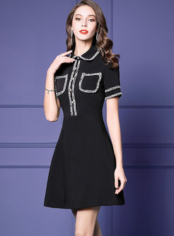 Elegant Color-blocked Lapel Slim Skater Dress