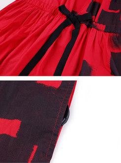 Plus Size Print Tie-waist Midi Dress