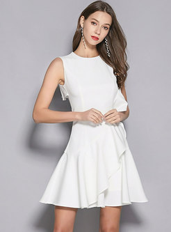Elegant Pure Color Sleeveless Falbala Mini Dress