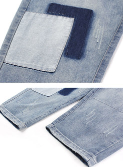 Stylish Denim Color-blocked Harem Pants