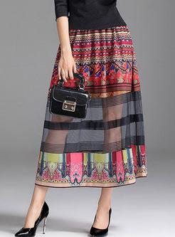 Elastic Waist Mesh Splicing Print Skirt