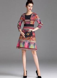 Three Quarters Sleeve Print A Line Dress