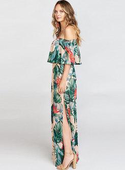 Sexy Print Slash Neck Slit Maxi Dress