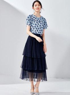 Gauze Elastic Waist Slim Cake Skirt
