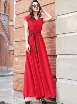 Bohemian V-neck Sleeve Waist Maxi Dress