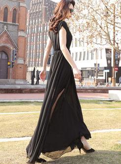 Brief Solid Color Slit Big Hem Dress
