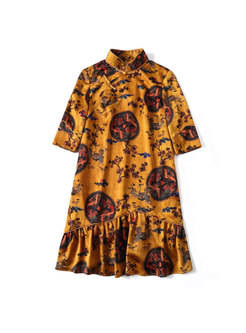 Vintage Print Stand Collar Falbala Loose Dress
