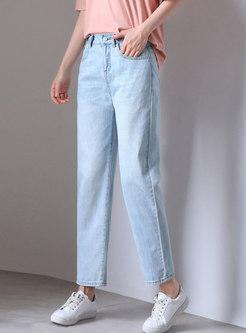 Brief Light Blue Denim High Waist Straight Pants