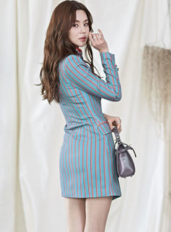 Notched Long Sleeve Striped Slim Dress