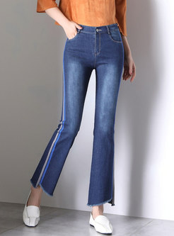 Asymmetric Splicing Striped Rough Selvedge Flare Pants