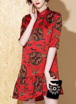 Retro Print Stand Collar Falbala Loose Dress