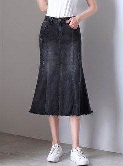 Sexy Denim Sheath Mermaid Skirt