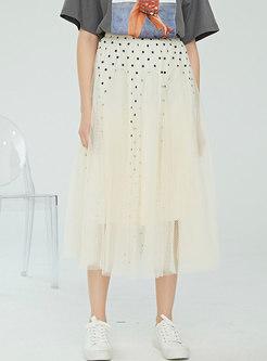Casual Mesh Polka Dot High Waist Skirt