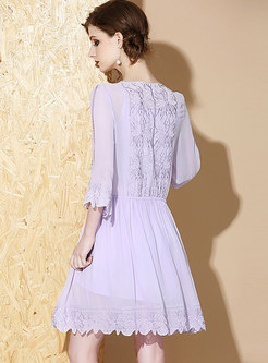 Chic V-neck Embroidered Tie-waist Mini Dress