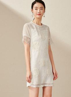 Stylish Splicing Embroidered O-neck Sheath Dress