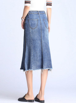 Asymmetric Rough Selvedge Sheath Denim Skirt