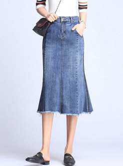 Asymmetric Rough Selvedge Sheath Denim Skirt