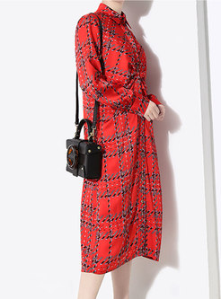 Plaid Lapel Belted Single-breasted Slim Dress
