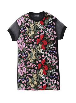 Chic Mesh Embroidered Splicing T-shirt Dress