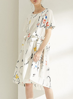 Trendy Print Tied High Waist Shift Dress