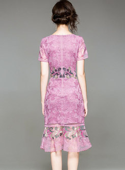 O-neck Embroidered Waist Mermaid Dress