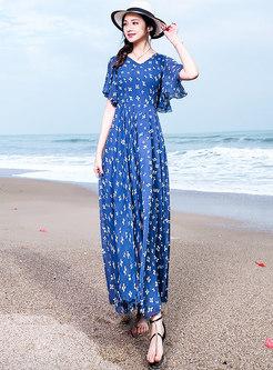 Casual Floral Print V-neck Maxi Dress