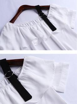 Sexy Off Shoulder Falbala Top & Slim Harem Pants