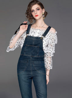 Slash Neck Polka Dot Top & Denim Straped Pants