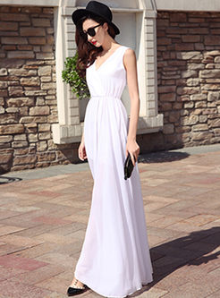 Bohemian V-neck Sleeveless Waist Maxi Dress