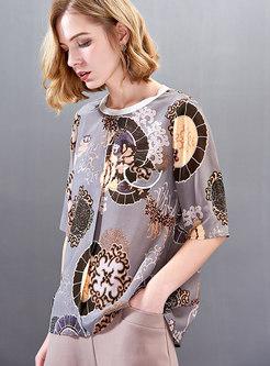 Casual Print O-neck Half Sleeve T-shirt