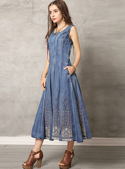 Denim O-neck Embroidered Sleeveless Hem Maxi Dress