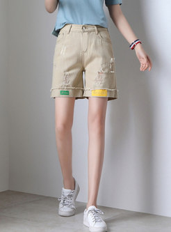 Brief Khaki Hole Slim Straight Shorts