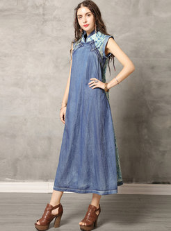 Denim Splicing Stand Collar Loose Maxi Dress