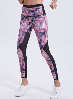 Mesh Splicing Print Breathable Slim Fitness Pants