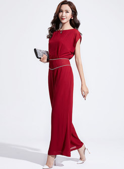 Brief Pure Color O-neck Tied Jumpsuit