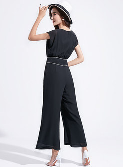 Stylish Gathered Waist Tied Wide Leg Jumpsuit